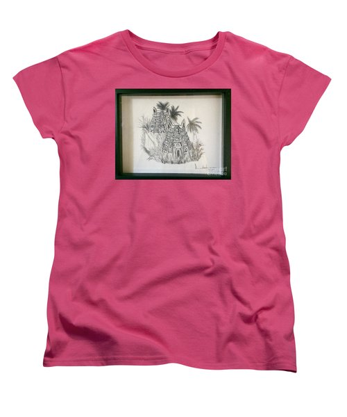 Women's T-Shirt (Standard Cut) featuring the painting Temple In Calligraphy Ink by Brindha Naveen
