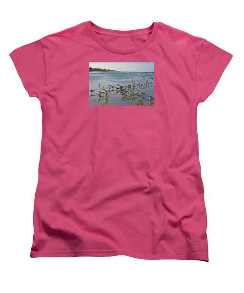 Women's T-Shirt (Standard Cut) featuring the photograph Terns And Seagulls On The Beach In Naples, Fl by Robb Stan