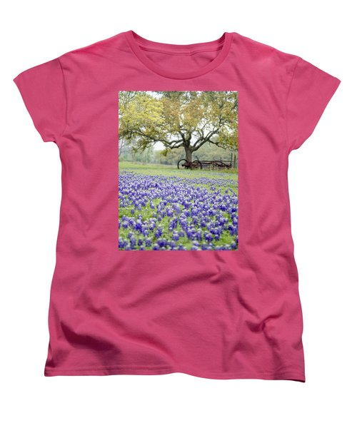 Texas Bluebonnets And Rust Women's T-Shirt (Standard Cut) by Debbie Karnes