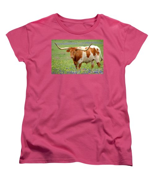 Texas Longhorn Standing In Bluebonnets Women's T-Shirt (Standard Cut) by Jon Holiday