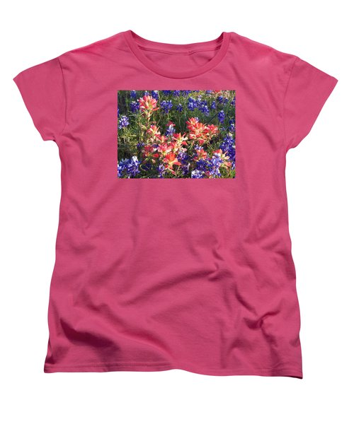 Women's T-Shirt (Standard Cut) featuring the painting Texas Wildflowers by Karen Kennedy Chatham