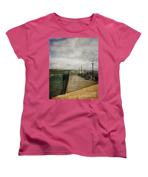 Textures On Swanage Pier Women's T-Shirt (Standard Cut) by Linsey Williams
