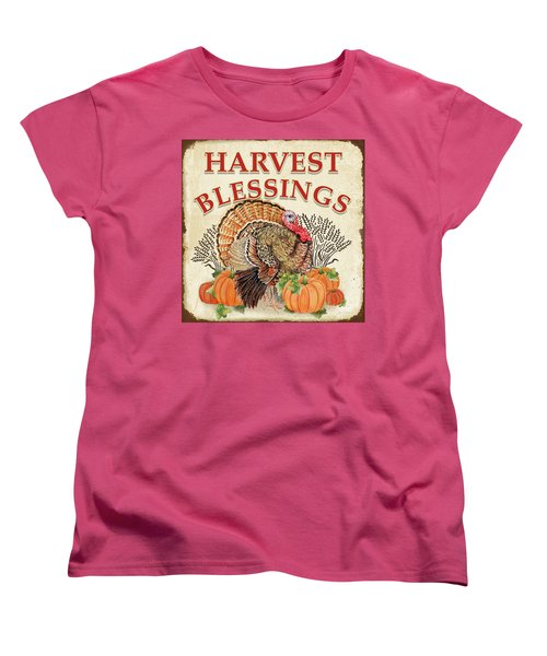 Women's T-Shirt (Standard Cut) featuring the painting Thanksgiving-e by Jean Plout