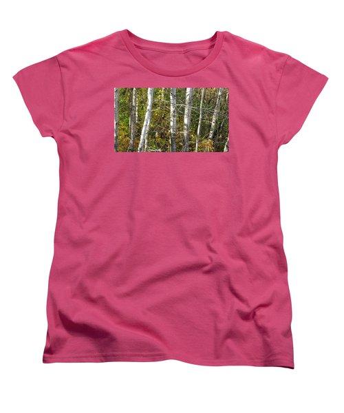 Women's T-Shirt (Standard Cut) featuring the photograph The Birches by Kimberly Mackowski