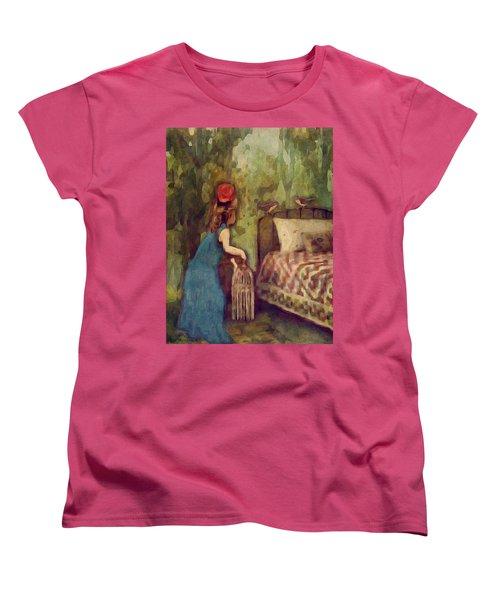 Women's T-Shirt (Standard Cut) featuring the digital art The Bird Catcher by Lisa Noneman