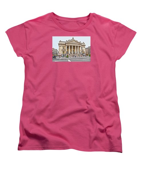 Women's T-Shirt (Standard Cut) featuring the photograph The Bourse In Brussels by Pravine Chester