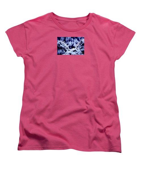 Women's T-Shirt (Standard Cut) featuring the photograph The Deep Blue - Winter Wonderland In Switzerland by Susanne Van Hulst