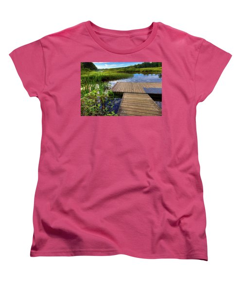 The Dock At Mountainman Women's T-Shirt (Standard Cut) by David Patterson