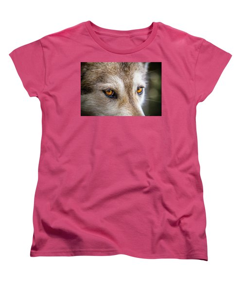 Women's T-Shirt (Standard Cut) featuring the photograph The Eyes Of A Great Grey Wolf by Teri Virbickis