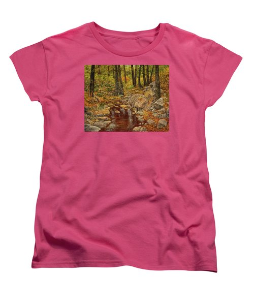 Women's T-Shirt (Standard Cut) featuring the painting The Fall Stream by Roena King
