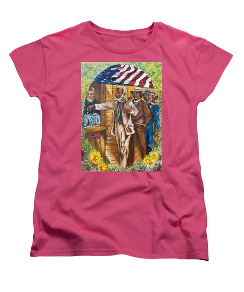 Women's T-Shirt (Standard Cut) featuring the painting The First Vote - 1867 by Sigrid Tune