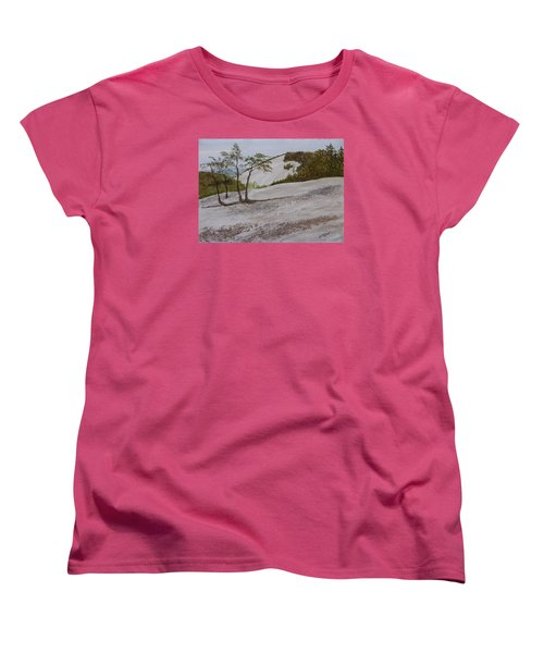 Women's T-Shirt (Standard Cut) featuring the painting The Four Sisters At Stone Mountain by Joel Deutsch