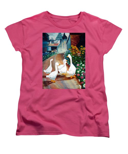 Women's T-Shirt (Standard Cut) featuring the painting The Gaggle by Renate Nadi Wesley