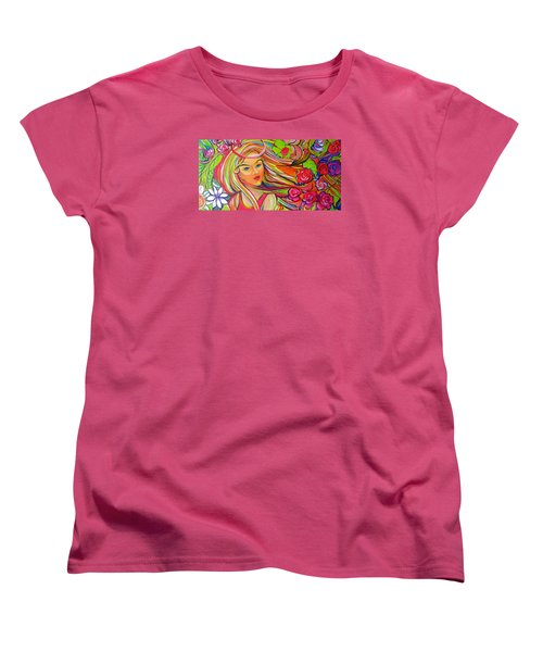 The Girl With The Flowers In Her Hair Women's T-Shirt (Standard Cut) by Jeanette Jarmon