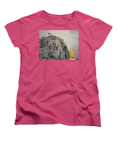 Women's T-Shirt (Standard Cut) featuring the painting The Golden Sails by Mojo Mendiola