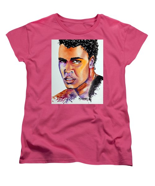 Women's T-Shirt (Standard Cut) featuring the painting The Great Ali by Maria Barry