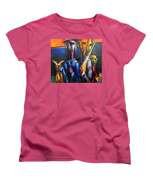 Women's T-Shirt (Standard Cut) featuring the painting The Hunters by Kenneth Agnello