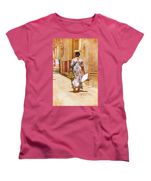 Women's T-Shirt (Standard Cut) featuring the photograph The Jewelry Seller - Malaga Spain by Mary Machare