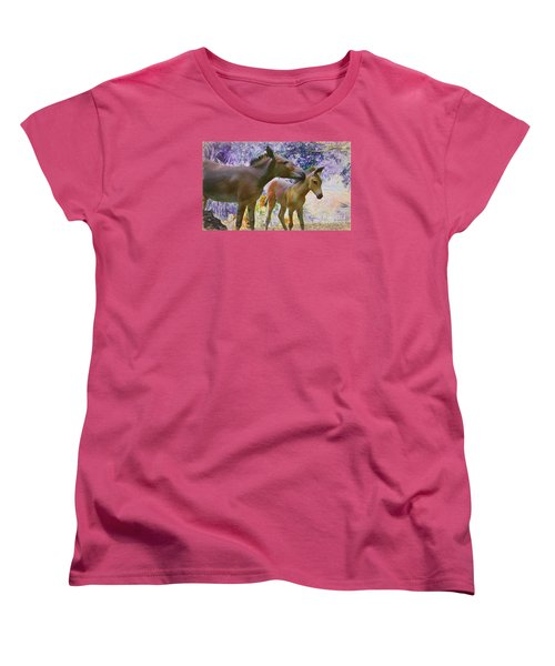 Women's T-Shirt (Standard Cut) featuring the painting The Kiss Edition 2 by Judy Kay