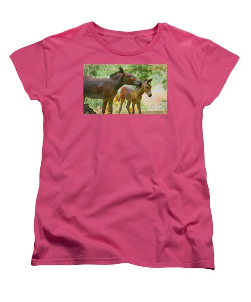 Women's T-Shirt (Standard Cut) featuring the painting The Kiss Edition 3 by Judy Kay