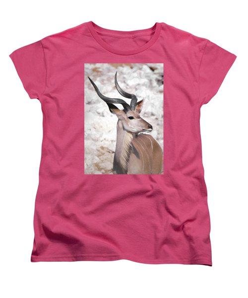 Women's T-Shirt (Standard Cut) featuring the digital art The Kudu Portrait by Ernie Echols