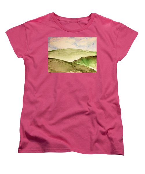 Women's T-Shirt (Standard Cut) featuring the painting The Little Hills Rejoice by Antonio Romero