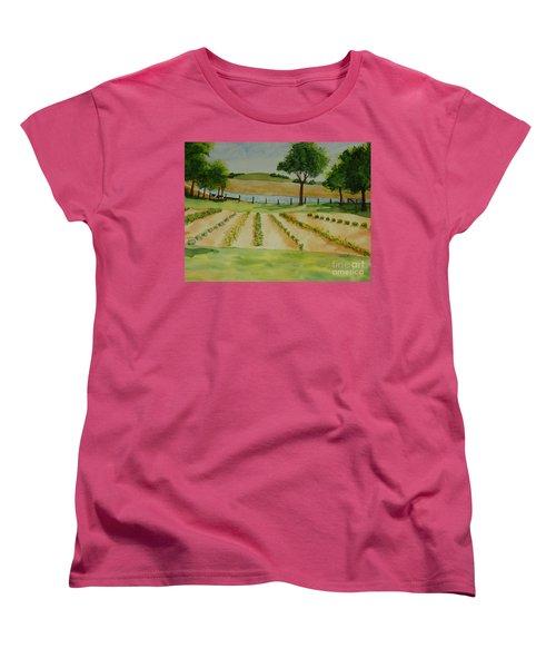 Women's T-Shirt (Standard Cut) featuring the painting The Mangan Farm  by Vicki  Housel