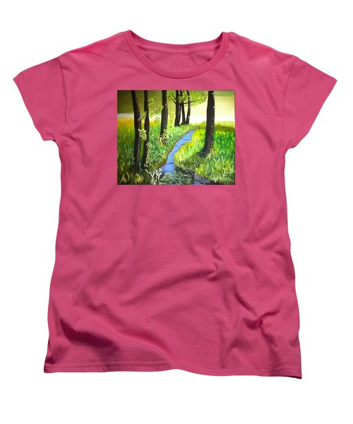 Women's T-Shirt (Standard Cut) featuring the painting The Meadow by Rod Jellison