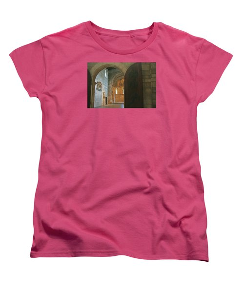 An Early Morning At The Medieval Abbey Women's T-Shirt (Standard Cut) by Yvonne Wright