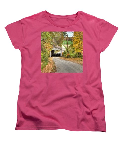 Women's T-Shirt (Standard Cut) featuring the photograph The Melcher Covered Bridge by Harold Rau
