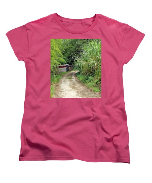 Women's T-Shirt (Standard Cut) featuring the photograph The Old Forest Road by Yali Shi