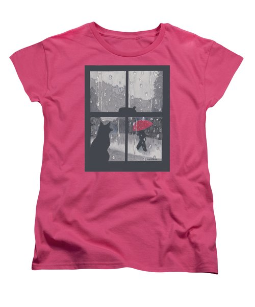 Women's T-Shirt (Standard Cut) featuring the painting The Red Umbrella by Quwatha Valentine