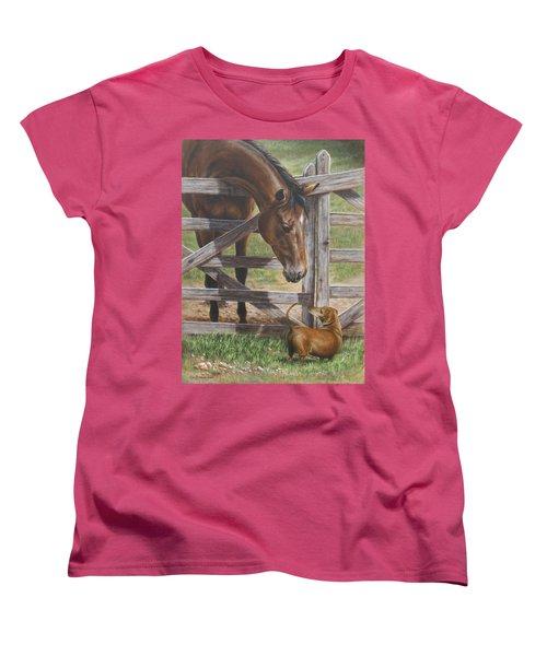 The Tall And Short Of It Women's T-Shirt (Standard Cut) by Kim Lockman
