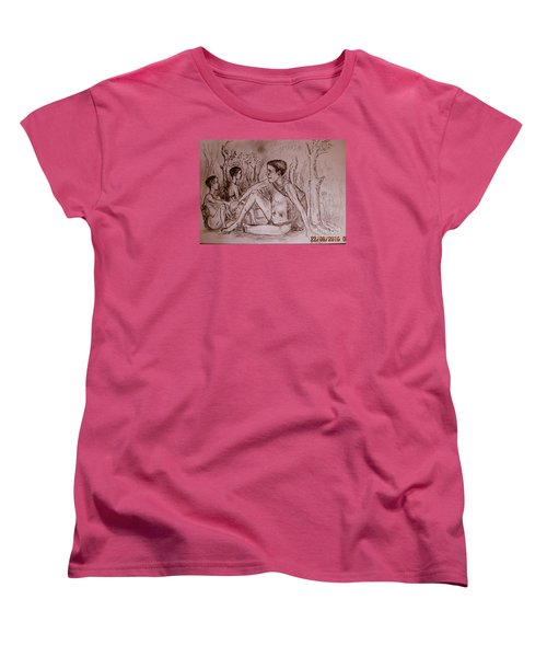 Women's T-Shirt (Standard Cut) featuring the drawing The Traditional Barter System by Jason Sentuf