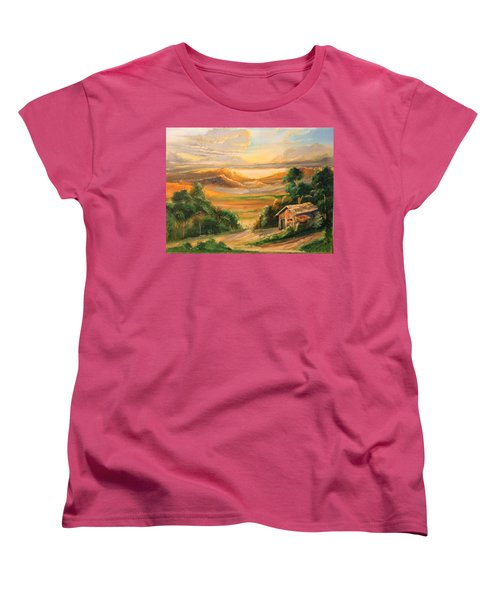 The Warmth Of Sunset Women's T-Shirt (Standard Cut) by Remegio Onia