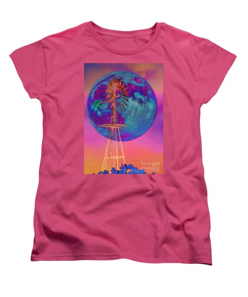The Windmill And Moon In A Sherbet Sky Women's T-Shirt (Standard Cut) by Toma Caul