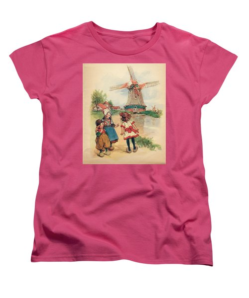 The Windmill And The Little Wooden Shoes Women's T-Shirt (Standard Cut) by Reynold Jay