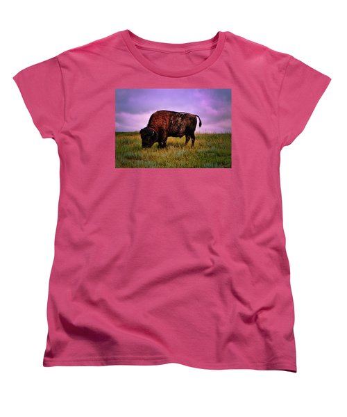 Women's T-Shirt (Standard Cut) featuring the photograph Theodore Roosevelt National Park 008 - Buffalo by George Bostian