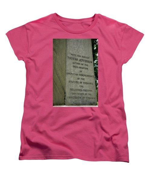 Thomas Jefferson Tombstone Close Up Women's T-Shirt (Standard Cut) by LeeAnn McLaneGoetz McLaneGoetzStudioLLCcom