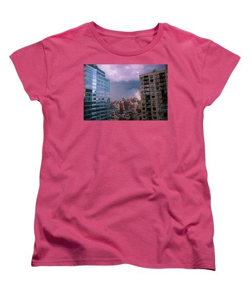 Women's T-Shirt (Standard Cut) featuring the photograph Threatening Storm - Manhattan - 2016 by Madeline Ellis