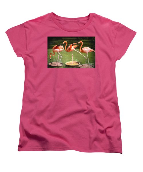 Women's T-Shirt (Standard Cut) featuring the photograph Three Flamingos by Judy Wolinsky