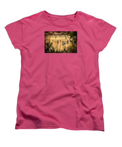 Women's T-Shirt (Standard Cut) featuring the digital art Three Kayaks Coming Home by Phil Mancuso