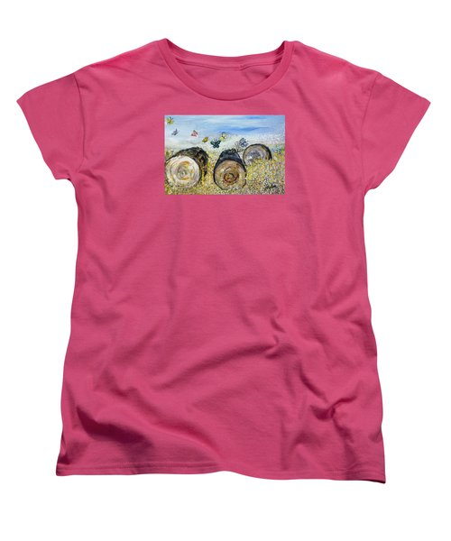 Three Logs Women's T-Shirt (Standard Cut) by Evelina Popilian