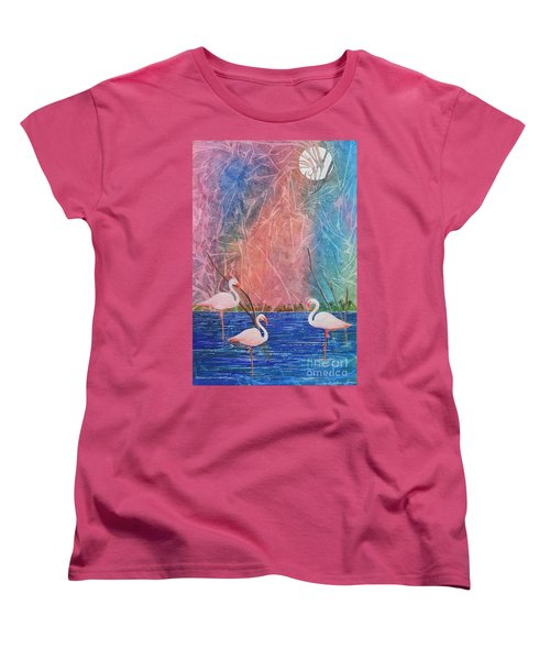 Women's T-Shirt (Standard Cut) featuring the painting Three Pink Flamingos by Jackie Mueller-Jones