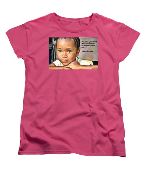 Women's T-Shirt (Standard Cut) featuring the painting Through The Eyes Of A Child by Wayne Pascall