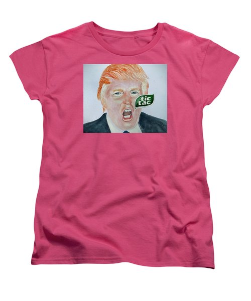 Women's T-Shirt (Standard Cut) featuring the painting Tic Tac Trump by Edwin Alverio