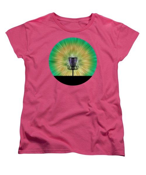 Tie Dye Disc Golf Basket Women's T-Shirt (Standard Cut) by Phil Perkins