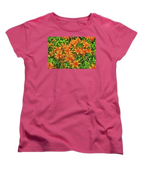 Tiger Lilies Women's T-Shirt (Standard Cut) by Pat Cook