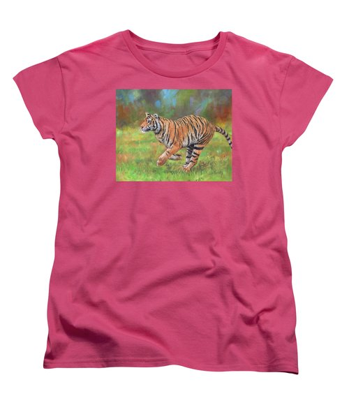 Women's T-Shirt (Standard Cut) featuring the painting Tiger Running by David Stribbling