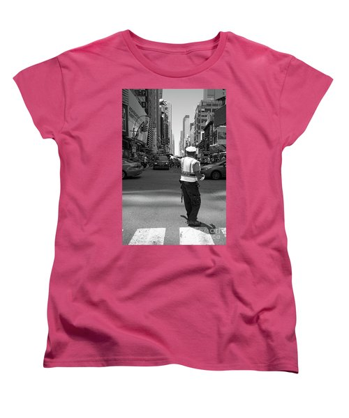 Women's T-Shirt (Standard Cut) featuring the photograph Times Square, New York City  -27854-bw by John Bald